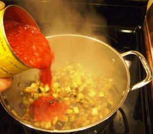 crushed tomatoes and eggplant