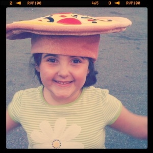 A pizza hat.  uhm. ok.  At Canobie Lake