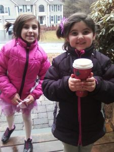 This is what I mean by a coffee delivery with a smile.  My girls.  Every Saturday.  :)