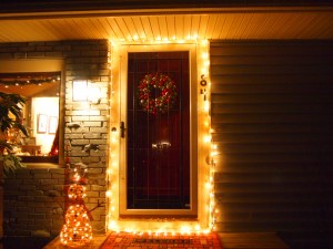 No Icicles this year; again.  I was too ill to hang them alone so voila..the door!  :)