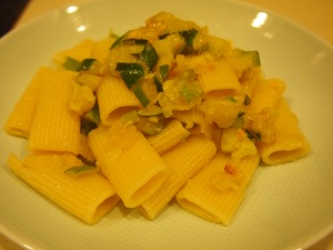 Finished dish! Caramelized Zucchini with Rigatoni