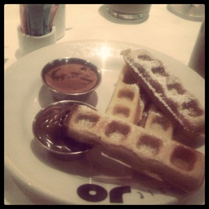 Possibly the best dessert I've ever had ...waffles with salted caramel and nutella.  (I'm a Nutellaholic)