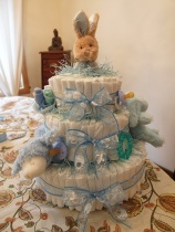 Making my Sister's Boy themed Diaper Cake with our Mom. :)