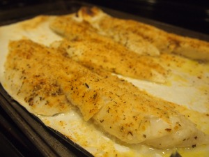 Finished dish!  Broiled Cod with Bread Crumbs