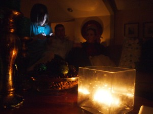 family hanging out when the lights went out
