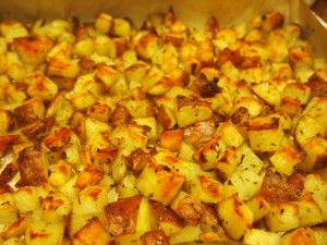 Finished Side Dish!  Easy Roasted Potatoes