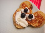 My girls like their pancakes in shapes.  Here is my #fail attempt at Mickey this day.  :)