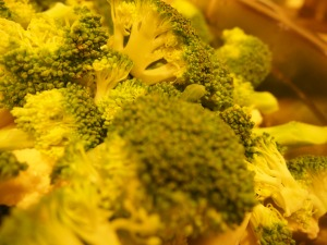 chopped broccoli, larger than a bite size
