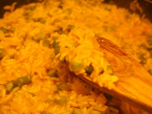 the rice is cooked, shown here prior to adding in the cheese