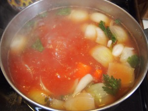 The tomato paste not only adds a lot of flavor, but it will turn the from a gloomy pale to a warm rose.