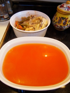 Shown the meat and veg that was removed, and then 2 quarts of strained soup ready to be put away for later this week.