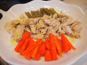 Here is our left over chicken with carrots and celery.  I love placing everything on a platter, drizzling a good olive oil over it then sprinkling salt and freshly cracked pepper on top.  SO YUMMY!