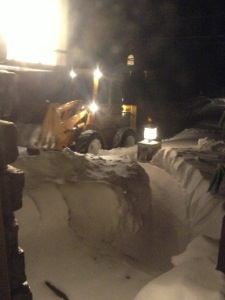 View from front living room window 7:10PM.  Yes!  Bourque Excavation plowed me out!  SWEET!