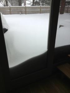 View from sliding door in living room @8AM.