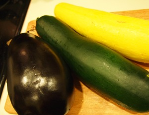 1 Large eggplant, 1 Large Zucchini, and 1 Large Summer Squash