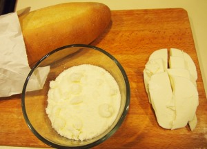 This night we used French Bread, but any hearty crusty fresh bread will work.  Grated Romano and fresh mozzarella