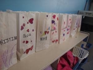 All the Valentine bags at school