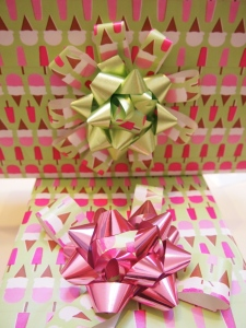 Twin gifts using that wrapping paper ribbon- cute!