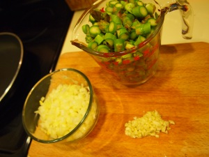 2 cups chopped asparagus, 1 medium onion chopped and 2 large cloves of garlic minced