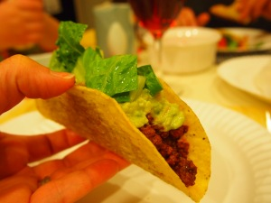 How I like my taco. Guacamole and lettuce on top .. yup!
