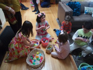 The kids gathered going through their eggs.