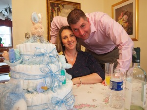 My sister and brother in law and the cake!