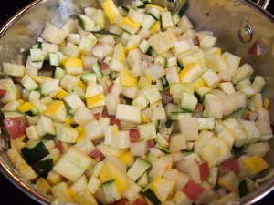 All the vegetables in the pot.