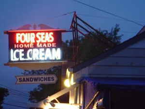 Four Seas Ice Cream.. in Hyannis.  YES, it was good.