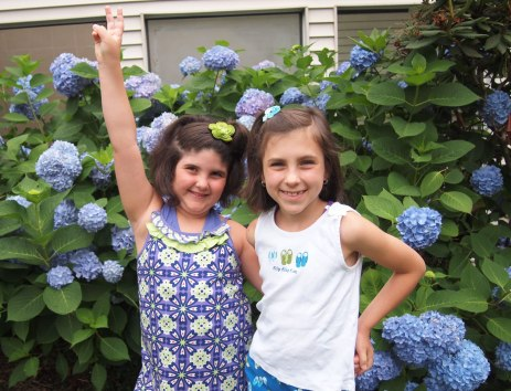 The girls with the hydrangea at the hotel. Amazingly HUGE!