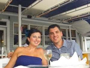 My husband and I in Hyannis at Tugboat's.  A fun deckside place.