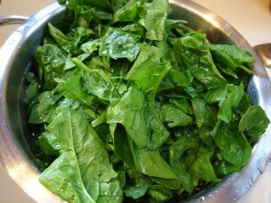Fresh spinach washed.