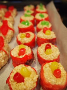 With these, I rolled the treats and placed Mike and Ikes in the center, then covered with a strip of rollup on the outer edge to mimic Maki Rolls.  Super cute! And yum!