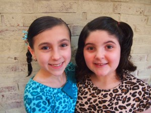 The sisters!  They got all decked out in their leopard outfits.  So cute!