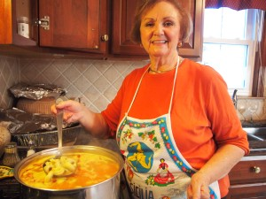 My mom making the tortellini con brodo.  So drooly good.