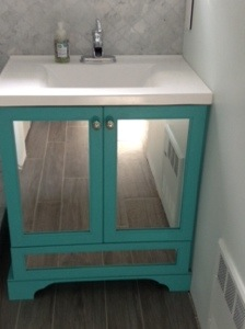 My baby!  Turquoise bathroom vanity!