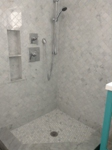 The shower, without the glass doors.
