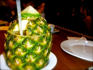 I will drink anything out of a pineapple.  Except this one isn't mine.  hehe