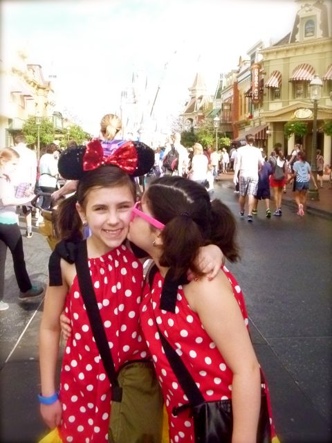 Our girls together on Main Street.