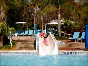 The pool at the Bay Lake Tower side.  Cute slide for the wee ones...and a