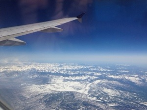 Flying over the mountains towards Denver
