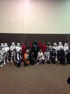 Behind the scenes of the 501st group in their dressing area. They are a volunteer group that dress up and reenact SW (obv). Our work colleague is in this group, so she got us behind the action to take this photo.