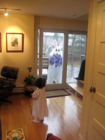 Then...Our youngest spotted the Easter Bunny.
