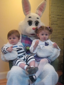 My nephew and niece taking a photo with the Bunny.
