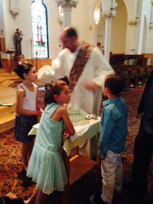 After mass we got to hang out with the Deacon. He had tooooo much fun talking to this crew of nosy kids