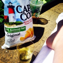 How I started the trip..Cape Cod chips, Sauvignon Blanc and an Iced Latte by the pool. I coined this the Cape Cod Trifectah'.