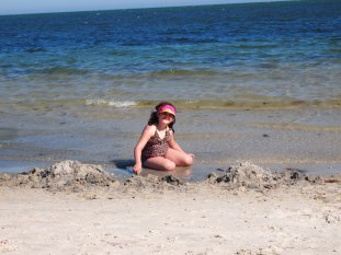 Having fun in the sand.