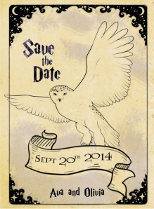Save the date with a 'hedwig' type owl.  I emailed these out a month and a half before the party.  I always send out save the dates.