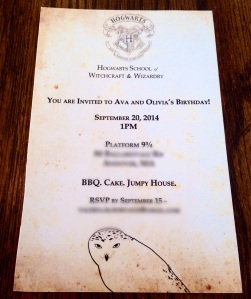 On faux aged paper as a background he made the invitations to our specs perfectly  Harry Potter Invitations