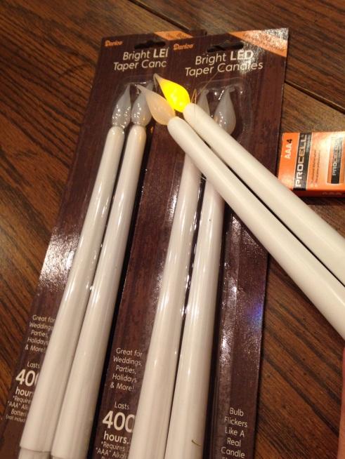 LED slim white candlesticks that I purchased at Joann's Fabrics