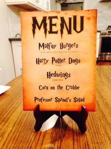 Harry Potter Birthday Menu- BBQ